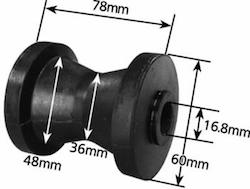 3 Black Cotton Reel Roller 17mm I.D